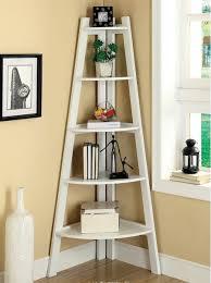 5 shelf corner ladder bookcase white wood display storage unit