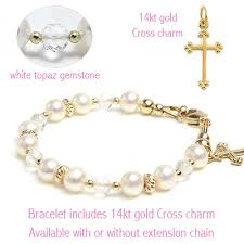 pearl bracelet with charm images Christening gold pearl bracelet in faceted white topaz and 14kt jpg