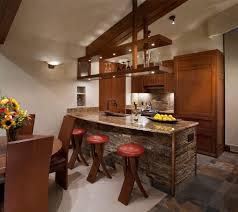 outstanding stone kitchen island with recessed art niche dark wood