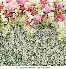wedding backdrop green colorful flowers with green wall for wedding backdrop stock