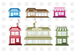 porch clipart suburban house and single floor shop country house vector
