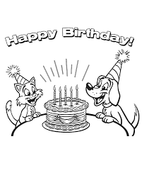 coloring pages of happy birthday free printable happy birthday