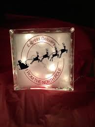 christmas express delivery glass block with lights glass blocks