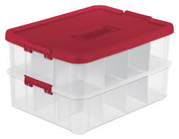 Box Ornament Sterilite 1427 Stack Carry 2 Layer Ornament Box