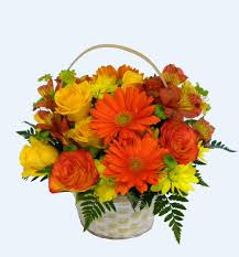 flower baskets florist cart yf3201 yellow and orange flower basket flower