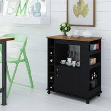 kitchen black wooden kitchen carts lowes with storage and bar