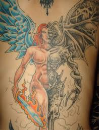 colored angel and devil tattoo