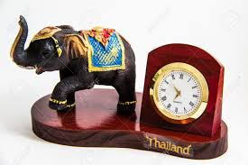 thai elephant color black resin with clock for home decor thai