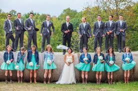 bride u0026 bridesmaids in jean jacket at wedding wedding country