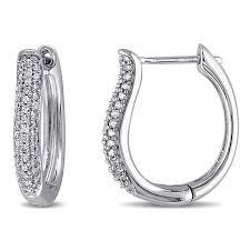 white gold diamond hoop earrings 10k white gold 32ctw white diamond hoop earrings 7953726 hsn