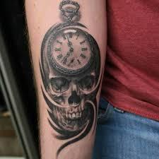 skull with pocket watch tattoo ideas tattoo designs