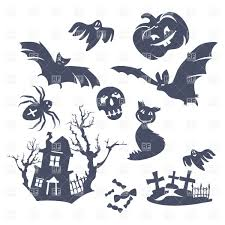 spooky cemetery clipart halloween decorations scary silhouettes vector image 37031