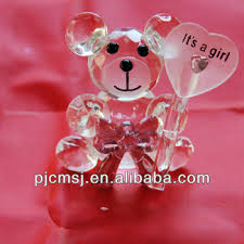 Wedding Gift Decoration Lovely Teddy Bear Cute Crystal Bear Glass Animal Figurines For