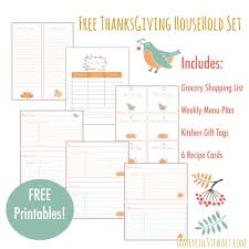 free thanksgiving household printables set grocery shopping list