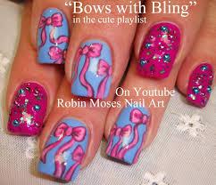 4 nail art tutorials bow nail design pink bows and bling nails