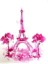 pink eiffel tower print from original watercolor paris