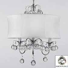 Chandeliers With Shades And Crystals by Modern Contemporary White Drum Shade U0026 Crystal Ceiling Chandelier