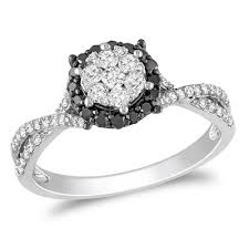 black and white engagement rings 1 2 ct t w enhanced black and white frame twist