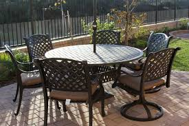 Outdoor Table Set by Nassau Cast Aluminum Powder Coated 4 Swivel Rocker Club Chairs