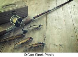 stock photo of antique fishing lures antique fishing lures in a