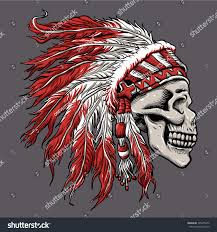 thanksgiving indian chief skull indian chief hand drawing stock vector 395355472 shutterstock