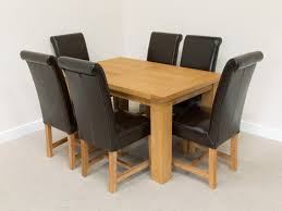 6 Black Dining Chairs Table With Leather Chairs On Popular Brown Dining Chair Wooden