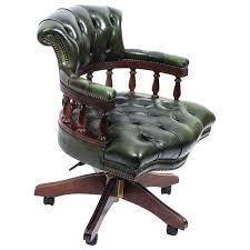 handmade office chair handmade leather captains desk chair green 1