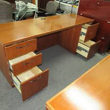 Used Office Desk Kimball Cherry Credenza Bookcase End Table Set Plano Used Office
