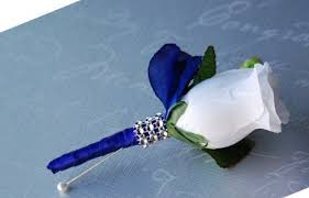 royal blue boutonniere white boutonniere with royal blue ribbon angel http