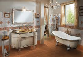 bathroom white bathtub with wooden storage by the windows in a