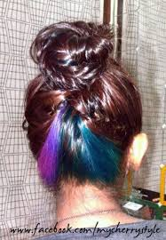 dye bottom hair tips still in style teal purple pink blue hair underneath so it s a surprise