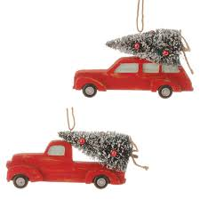 truck and station wagon with tree ornament set of 2