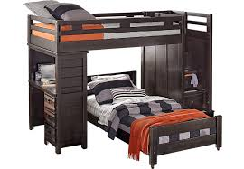 Creekside Charcoal Twin Twin Step Bunk Bed With Desk Beds Colors - Twin bunk beds with desk