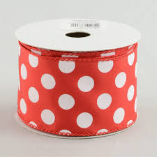 polka dot ribbon 2 5 big polka dot ribbon white 10 yards rg158924