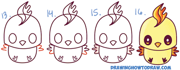 how to draw cute kawaii chibi moltres from pokemon in easy