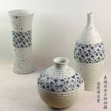 decorative crafts for home rib pottery by hand three piece modern vase arranged the decoration