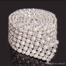 bling ribbon 3yard 6rows rhinestone pearl mix bling deco wedding decoraion