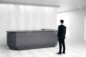 Black Reception Desk Businessman Looking At Modern Black Reception Desk In White