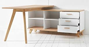 Modern Oak Desk Germania Oslo Modern Oak And White Desk With Storage For White