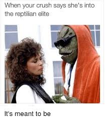 Reptilian Meme - when your crush says she s into the reptilian elite it s meant to