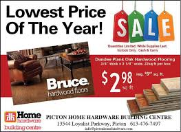 clearance pricing on hardwood flooring at picton home hardware