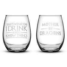game of thrones wine glasses amazon com premium game of thrones wine glasses set of 2 thats