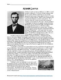biography of abraham lincoln in english pdf abraham lincoln reading comprehension teaching resources teachers