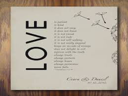 1 corinthians 13 wedding 1st wedding paper anniversary gift print 1 corinthians 13 is