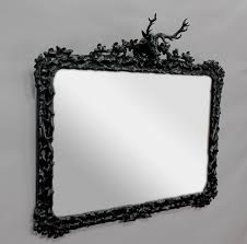 large black forest wooden carved mirror with stag head at 1stdibs