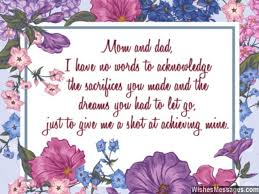thank you notes for parents messages for and