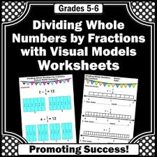 dividing whole numbers by fractions on a number line fraction