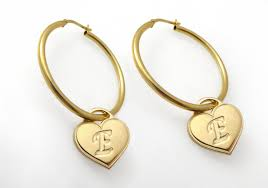 gold earrings initial hoop earrings monogram earrings gold earrings