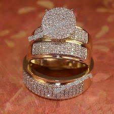 wedding ring trio sets and groom engagement wedding ring sets ebay