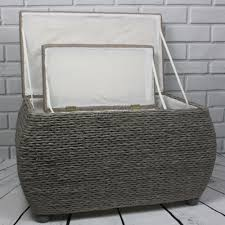 foxhunter pair indoor storage bench woven twin rattan basket box